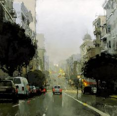 Cityscapes:  San Francisco.  Evening Fog in Blue & Green, by artist Jeremy Mann.