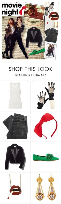 """""""Into the groove"""" by no-face-fashion ❤ liked on Polyvore featuring TIBI, Nudie Jeans Co., Kate Spade, Yves Saint Laurent, Aquazzura, movieNight and polyvorecontest"""