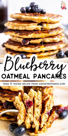 Healthy Blueberry Oatmeal Pancake Recipe Serve a healthy breakfast your kids will love with these Blueberry Oatmeal Pancakes! They are easy to make with juts a few basic ingredients, and you can freeze them for easy make ahead breakfasts, too. Blueberry Oatmeal Pancakes, Oatmeal Pancakes Easy, Pancakes And Waffles, Blueberry Breakfast, Pancakes Kids, Make Ahead Oatmeal, Banana Waffles, Quick Healthy Breakfast, Healthy Breakfasts
