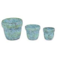 Blue Clay Pots - Set of Three  -  Earth Fairy