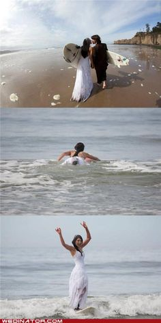 Yes this is what I want to do, where are the surfer couples? We could all paddle out and surf it up, then perform the ceremony on the sand. Better yet, with two witnesses in the water!!!!