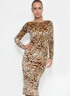 GUESS by Marciano 3/4 Sleeve Leopard Print Bodycon Dress  Leopard ...