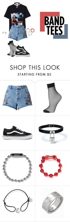 """Band Tees"" by zaet ❤ liked on Polyvore featuring Miss Selfridge, Topshop, Vans, Amb Ambassadors of minimalism, Cartier and Chrome Hearts"