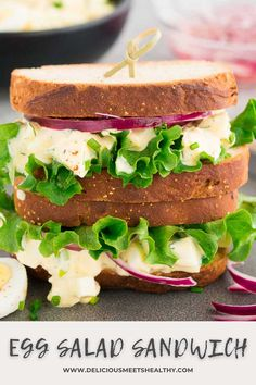 Delicious and creamy, this easy egg salad recipe is perfect for quick and easy lunches throughout the week. Low in carbs and high in protein, it's perfect for meal prep! Best Lunch Recipes, Easy Dinner Recipes, Breakfast Recipes, Favorite Recipes, Wrap Recipes, Egg Recipes, Kitchen Recipes, Egg Salad Sandwiches, Delicious Sandwiches