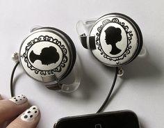 Vintage inspired headphones earphones jewelry black and white custom made painted. €25,00, via Etsy.