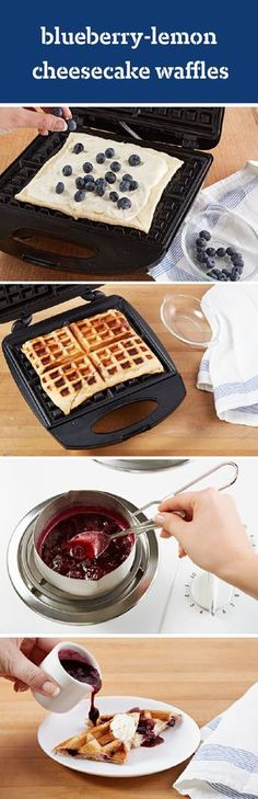 Blueberry-Lemon Cheesecake Waffles – Whip up this delicious breakfast table recipe for Lemon Blueberry Cheesecake Waffles! Enjoy sweet and citrus flavors accompanied by warm and doughy waffles for brunch—ready in 35 minutes.