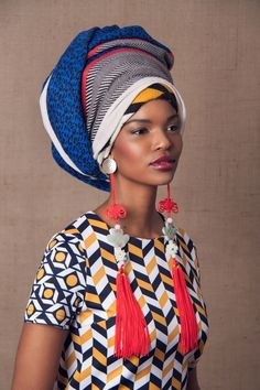 Striking Photos of Cultural Fashions You Have to See | picture of a model wearing a modern Xhosa inspired head wrap, South Africa