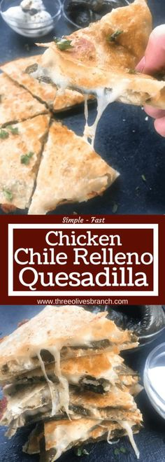 Chile relleno flavors of roasted poblano peppers and cheese layered in tortillas with chicken and vegetables. Quick and simple to make recipe as an appetizer, lunch, or meal. Chicken Chile Relleno Quesadilla   Three Olives Branch   www.threeolivesbranch.com #mexicanfood #cincodemayo