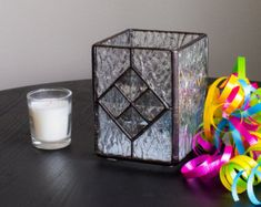 Diamond Stained Glass Votive Candle Holder by Kolor Waves Glass