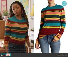 Jazlyn's multicolored striped top on Grown-ish.  Outfit Details: https://wornontv.net/90458/ #Grown-ish