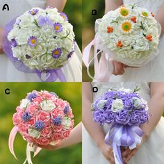 Real Image White Purple Pink 2015 New Bridal Bouquets with Hand Made Flowers Cheap Wedding Supplies Hand Holding Flower Artificial Flower #dhgatePin