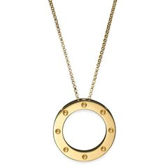 Roberto Coin 18K Yellow Gold Pois Moi Circle Pendant Necklace, 18 ($1,475) ❤ liked on Polyvore featuring jewelry, necklaces, yellow gold circle necklace, 18k yellow gold necklace, yellow gold pendant necklace, gold jewellery and roberto coin necklace