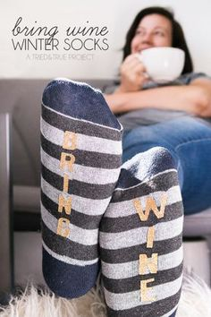 "These super easy ""Bring Wine"" winter socks come together quickly and are fun to give as a gift!"