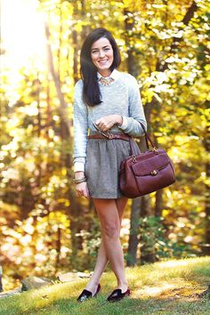 Cute fall outfit. From Classy Girls Wear Pearls: Fashionable Bug.