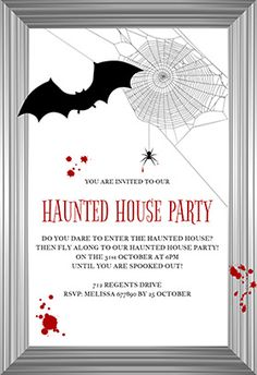 """""""A hunted house frame"""" printable invitation. Customize, add text and photos. print for free!"""