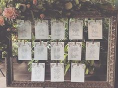 A floral decorated frame perfectly displays table numbers for guests. Beso Weddings & Events Chicago.