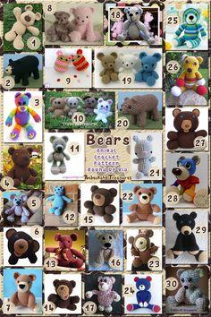 Bears Part 1 - Basic Teddies | Animal Crochet Pattern Round Up via @beckastreasures