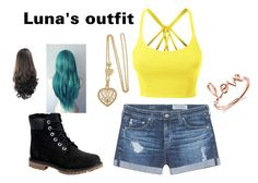 """""""Luna's outfit"""" by lolo-cdx ❤ liked on Polyvore featuring LE3NO, AG Adriano Goldschmied, Timberland and Sydney Evan"""