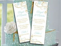 """Photo Booth Insert Place Card Template Printable """"Finola"""" Gold Mint Blue Wedding Photobooth Template Photo Booth Escort Card by PaintTheDayDesigns on Etsy"""