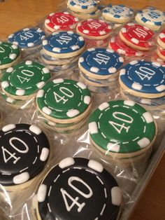 Poker chip decorated cookies.