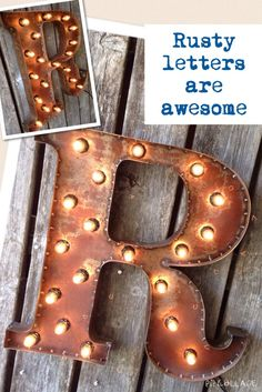19 Inch Marquee PATINA Steel Letters or by littlefishdesigns