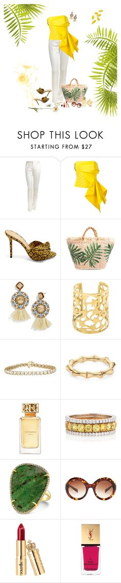 """""""Yellow top"""" by deborah-518 ❤ liked on Polyvore featuring Etro, Rubin Singer, Charlotte Olympia, BaubleBar, Gucci, Tory Burch, Bayco, Dolce&Gabbana, Yves Saint Laurent and ilovefashiongroup"""