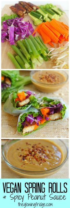 Vegan Spring Rolls with Spicy Peanut Sauce. Made with tempeh or tofu plus fresh veggies, all wrapped in a spring roll wrapper. Deliciously simple and easy.