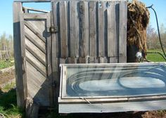 homemade solar outdoor shower for when i live in a state with lots of sun
