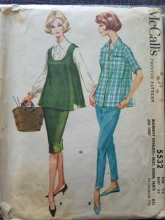 60s Patterns, Mccalls Patterns, Maternity Sewing Patterns, Vintage Fashion, Women's Fashion, 1960s, Buttons, Clothes, Style