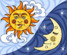 Sun and Moon Royalty Free Stock Vector Art Illustration