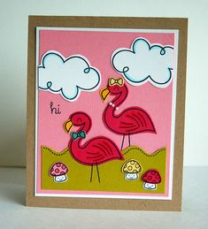 flamingos using lawn fawn's gnome sweet gnome stamp set