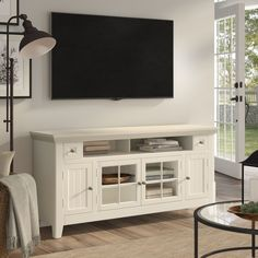 Birch Lane™ Heritage Calila TV Stand for TVs up to 70 inches Open Shelving, Adjustable Shelving, Cottage Chic Living Room, Condo Living, Wood Entertainment Center, Entertainment Ideas, Blanket Storage, Storage Spaces, Living Spaces