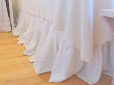 Custom Listing for Gale: The Annabelle Linen Dust Ruffle Queen Size, 2 (86 in.) curtain panels White Linen