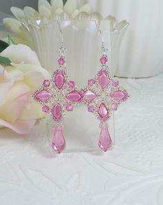 Woven Dangle Earrings Pink Swarovski Crystal Drops by IndulgedGirl