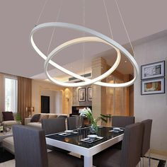 Modern pendant lights for living room dining room 3/2/1 Circle Rings acrylic aluminum body LED Lighting ceiling Lamp fixtures-in Pendant Lights