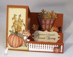 Autumn Side Stepper_lb by Clownmom - Cards and Paper Crafts at Splitcoaststampers Tri Fold Cards, Fancy Fold Cards, Folded Cards, Scrapbooking, Scrapbook Cards, Holiday Cards, Christmas Cards, Handmade Thanksgiving Cards, Side Step Card