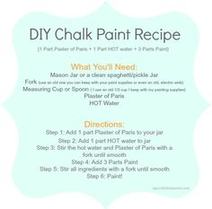 DIY Chalk Paint Recipe - There are several DIY chalk paint recipes out there and I felt it was time I post the recipe that I use: