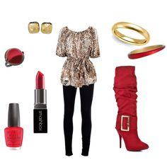 """Golden Red Leopard Knee High Boot"" by erinelisabeth29 on Polyvore"