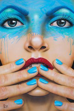 World Gone Mad Canvas Artwork by Scott Rohlfs Canvas Artwork, Canvas Art Prints, Pop Art Girl, Art Pop, Airbrush Art, Mixed Media Canvas, Pics Art, Painted Signs, Portrait Art