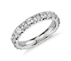 Asscher Cut Diamond Eternity Ring in Platinum ct. Full Eternity Ring, Eternity Ring Diamond, Diamond Bands, Band Engagement Ring, Wedding Ring Bands, Wedding Jewelry, Blue Nile Jewelry, Diamond Jewelry, Gold Jewellery