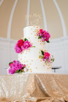 Preppy and feminine bright pink and red peony and rose wedding cake with gold polka dots for a Buffalo, New York celebration | Social Maven