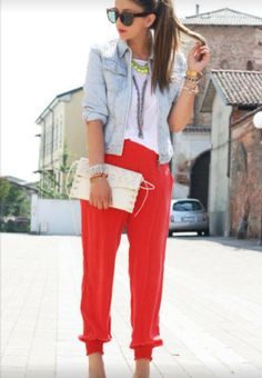 White tee with red pants and denim jacket