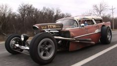 Join us as we take Rick Newberry's absolutely INSANE 1957 Chevy Wagon Rat Rod for a Sunday drive in busy Holiday traffic. This 2013 'Rat Rod Build Off' winne. Classic Hot Rod, Classic Cars, Rat Rod Build, Chevy Nomad, Ultimate Man Cave, Drag Cars, Vw Cars, Mad Max, Station Wagon