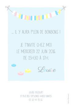 Carte d'anniversaire Collier de bonbons by ÉLÉPHANT (rose) pour www.fairepartnaissance.fr #birthday #kids #invitation