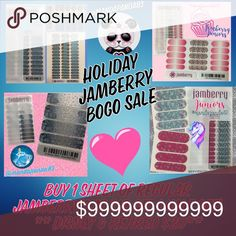 Jamberry Holiday BOGO Sale All NWT and some are even unavailable through the site! Buy one at $18/$20, get 1 half off!!! Instructions sent with purchase! Don't let this chance pass you buy! These make EXCELLENT Christmas Gifts! Jamberry Accessories