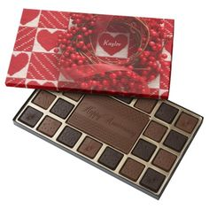 Red berry wreath with hearts assorted chocolates