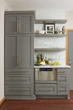 Gray kitchen cabinets in Benjamin Moore Chelsea Gray