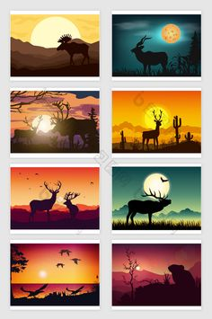 39aa62d1d5 Vector cartoon sunrise sunset animal silhouette landscape  illustration.Dowanload at pikbest.com  natural