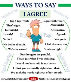 Ways to Say I Agree in English (english grammar book) English Speaking Skills, English Writing Skills, English Vocabulary Words, Learn English Words, English Phrases, English Language Learning, English Lessons, Improve English Writing, French Language
