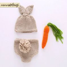 Hand knitted with 100% organic cotton. 3 piece includes Hat Bottom, And a carrot Fits newborn to 3 mo.  Please contact me for the further details and questions.